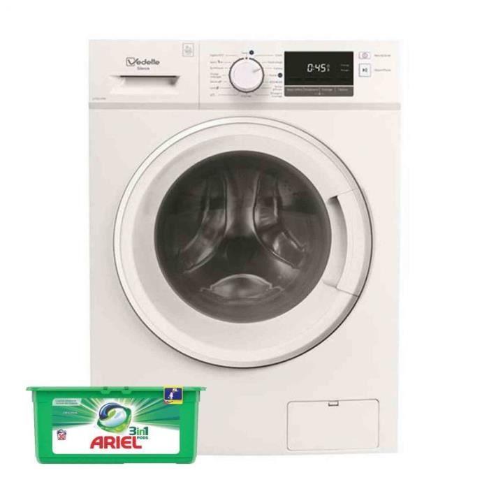 VEDETTE Lave-linge frontal 9kg 1400trs/min Moteur Induction Machine à laver hublot 56 Blanc