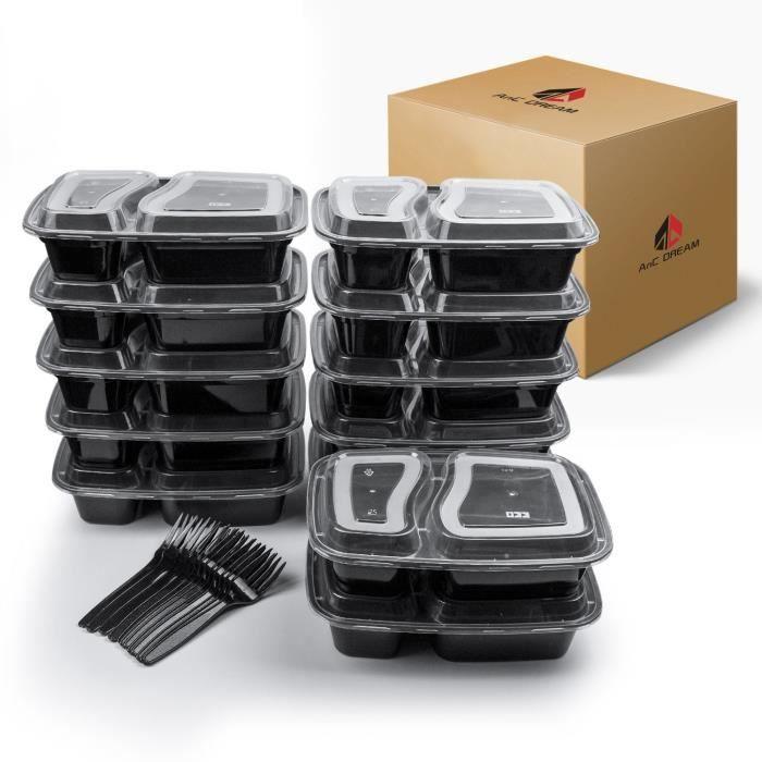 XM1450-2 Compartiment Repas Préparation contenants -12 Pack-. Boîte Bento avec couvercles. sans Danger pour Lave-Vaissel
