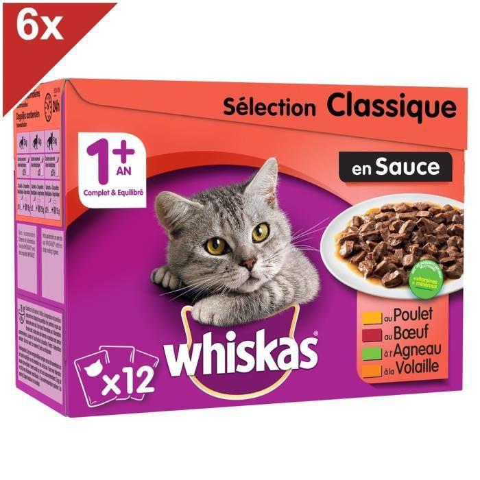 WHISKAS 72 Sachets fraîcheur sauce sélection classique pour chat 100g (6x12)