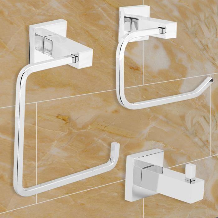 Crochets pour serviette de salle de bain chrom/és pour peignoir accessoire de salle de bain fixation murale ou porte argent