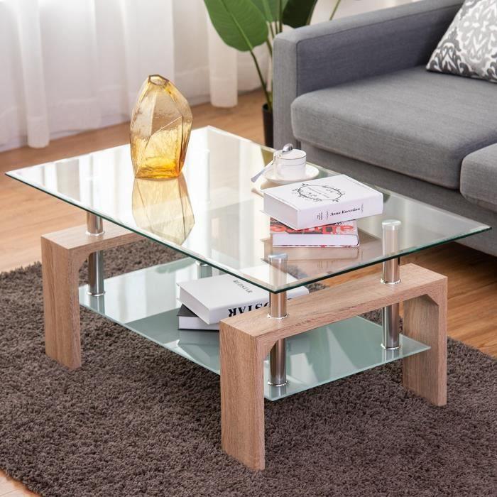 Basse Verre 2 Bois Choix de et Basse Scandinaves 1006045cm Table Table Salon Table Couleur en Nature au sdQthrCxoB