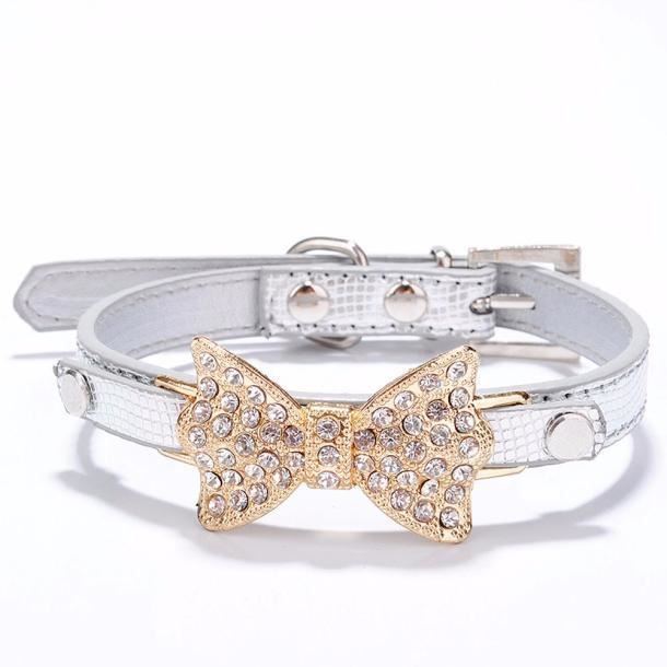 Bling Rhinestone Bow Bowknot Puppy Collar Pet Dog Cat Collars S Mo430