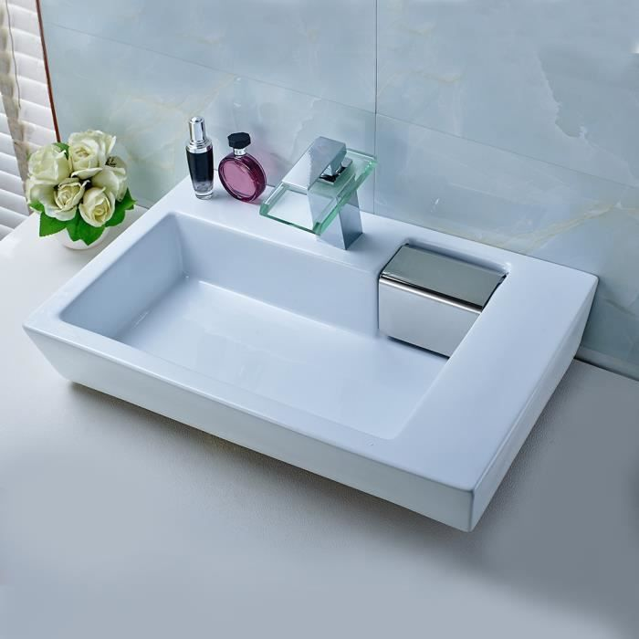 simple aruhe lavabo de salle de bain vasque poser vier en cramique blanc solide design moderne. Black Bedroom Furniture Sets. Home Design Ideas
