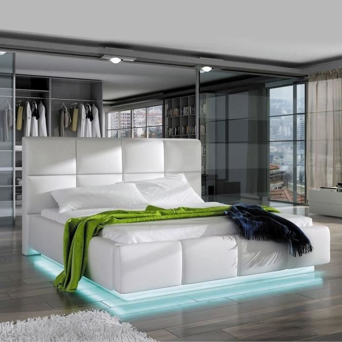 lit design alex avec sommier 140x200 blanc achat. Black Bedroom Furniture Sets. Home Design Ideas