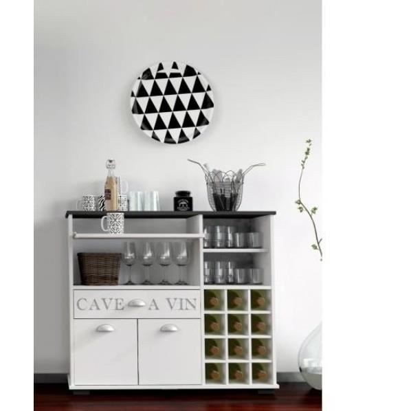 buffet meuble cave vin avec tiroirs shabby chic achat. Black Bedroom Furniture Sets. Home Design Ideas