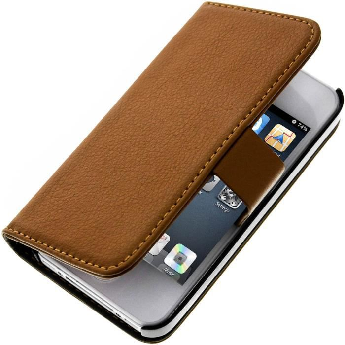 Etui portefeuille cuir apple iphone 4 4s marron achat for Housse iphone 4 cuir