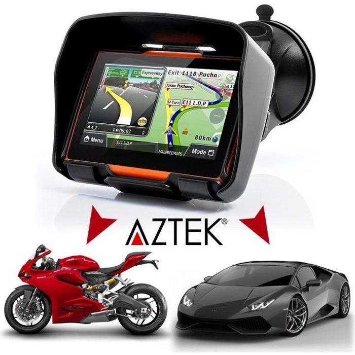 "GPS AUTO AZTEK® GPS 4.3"" 3 en 1 MOTO - CAMION - VOITURE"