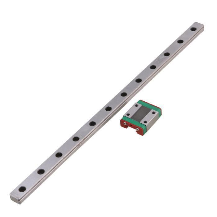 /équipement de mesure de pr/écision de petite taille largeur de 12 mm Rail de guidage lin/éaire de 500 mm avec bloc coulissant pour /équipement automatique rail de glissi/ère lin/éaire l/éger etc