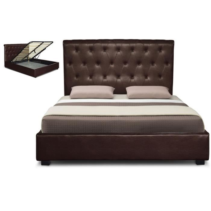 lit capitonne coffre cuir 140 cm marron athena achat. Black Bedroom Furniture Sets. Home Design Ideas