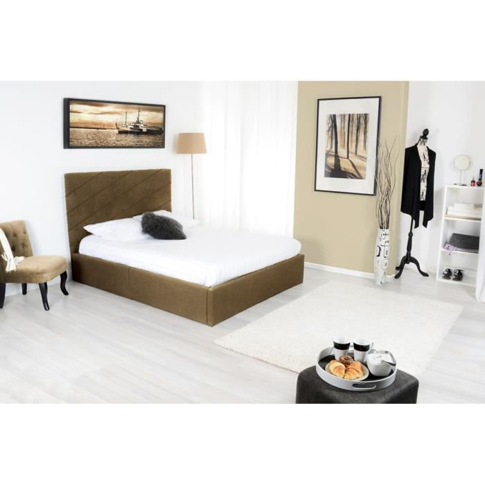 lit coffre avec sommier tissu 140 x 160 cm taupe rakil achat vente structure de lit. Black Bedroom Furniture Sets. Home Design Ideas