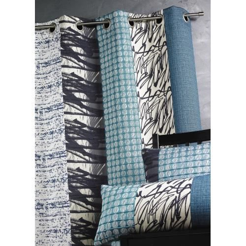 rideau jacquard rayures verticales bleu p trole achat vente rideau bambou cdiscount. Black Bedroom Furniture Sets. Home Design Ideas