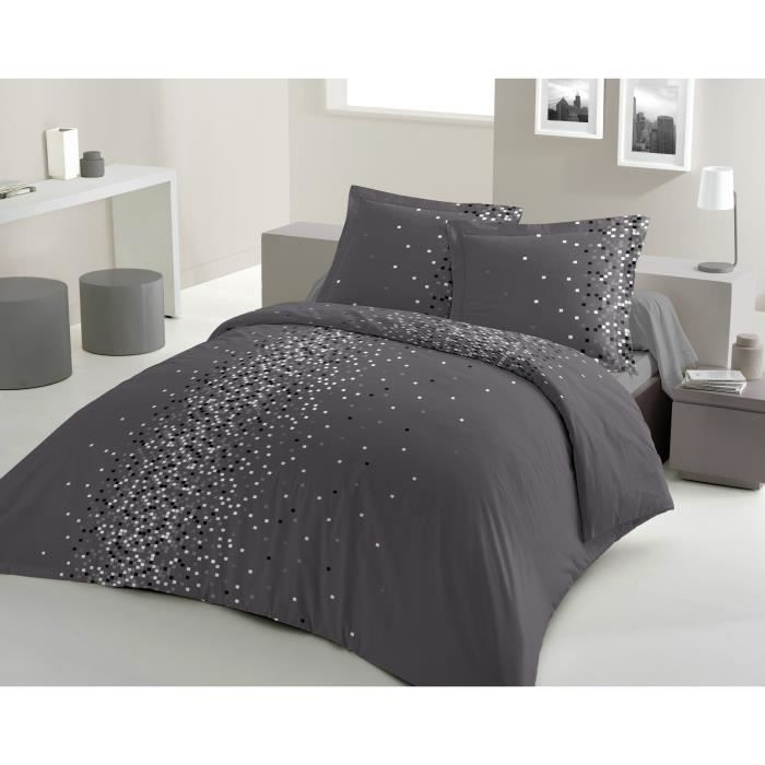 lovely home parure de couette pixel 100 coton 1 housse. Black Bedroom Furniture Sets. Home Design Ideas