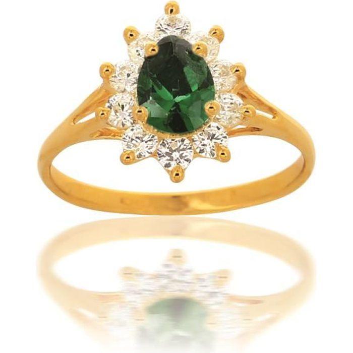 bague or jaune pierre verte