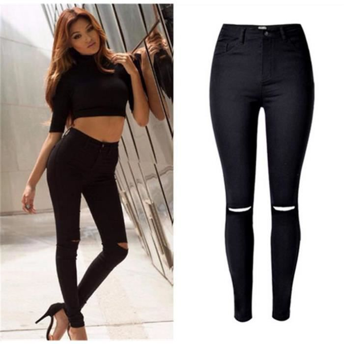 jeans femme lastique slim d chir pantalon taille haute x t mode chic sexy noir achat. Black Bedroom Furniture Sets. Home Design Ideas