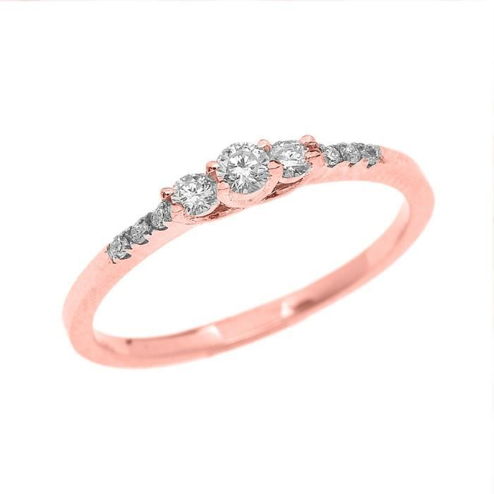 Bague Femme 10 Ct Or Rose 3 Pierre Diamant