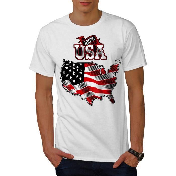 Wellcoda American drapeau pays USA T-shirt homme Etats-Unis conception graphique imprimé Tee