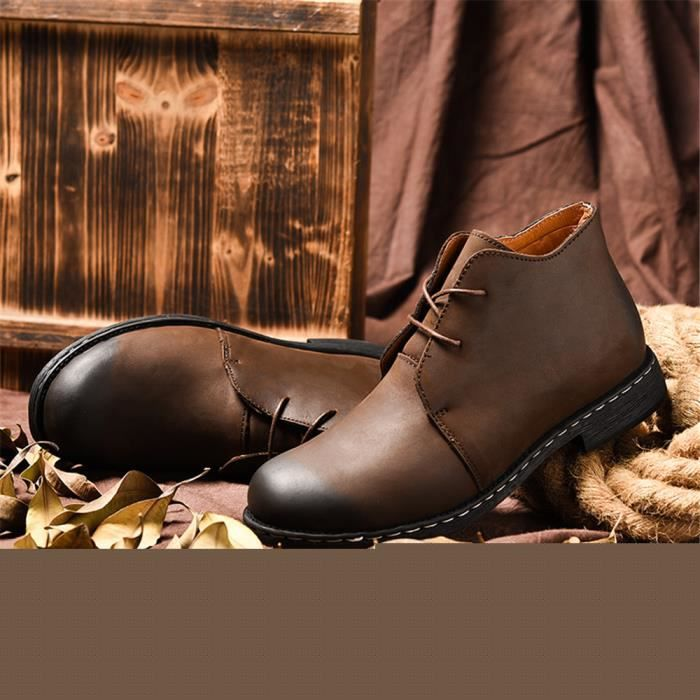 Homme Bottine Meilleure Qualité Marque De Luxe Chaussure Cool Cuir Chaussure AntidéRapant 38-47 mAggTlBE