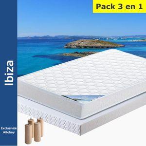 ENSEMBLE LITERIE Ibiza - Pack Matelas + AltoFlex 140x190 + Pieds
