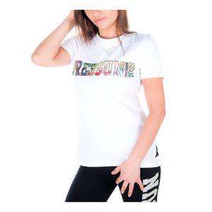 T-SHIRT FREEGUN T-shirt Uni Blanc et Multicolore Femme