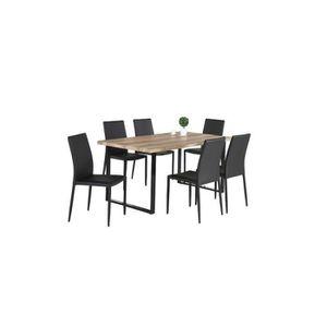 TABLE À MANGER COMPLÈTE Ensemble 1 table DAVID + 6 chaises NOAH noires. Se