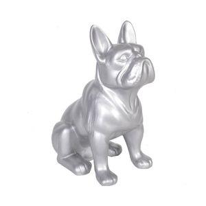 Bulldog Argent Perle charm avec pendentif os de chien