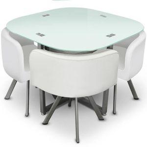TABLE À MANGER COMPLÈTE Ensemble Table de Repas & 4 Chaises Design