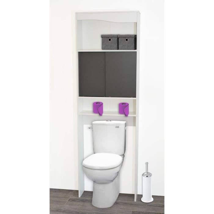 mia meuble wc galet 60 cm blanc et gris achat vente colonne armoire wc habillage pont wc. Black Bedroom Furniture Sets. Home Design Ideas