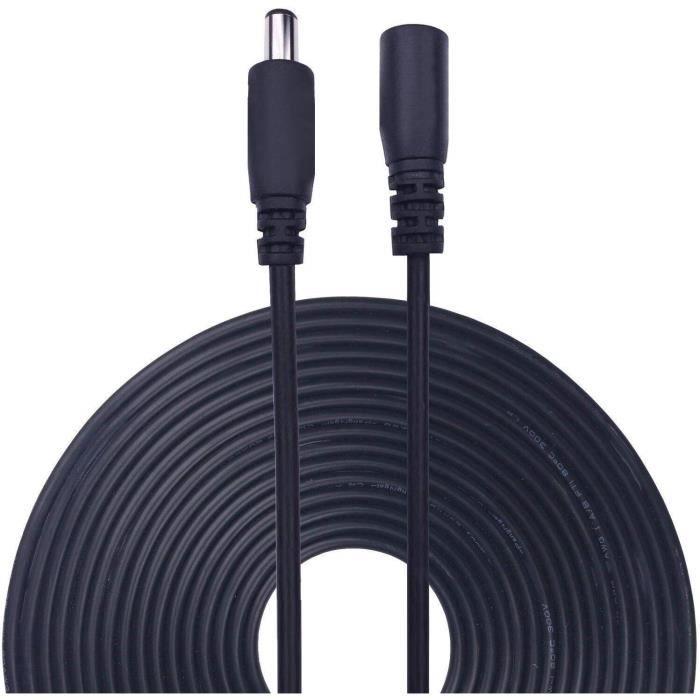 Lonnky Câble d'extension pour caméra de vidéosurveillance, caméra de sécurité IP, DVR Autonome Noir 2,1 mm x 5,5 mm 1720