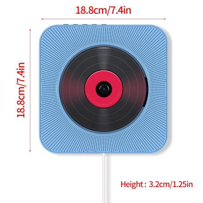 Lecteur CD enfant,Lecteur CD mural Bluetooth 4.2 avec télécommande Boombox Audio sans fil en plastique ABS - Type blue
