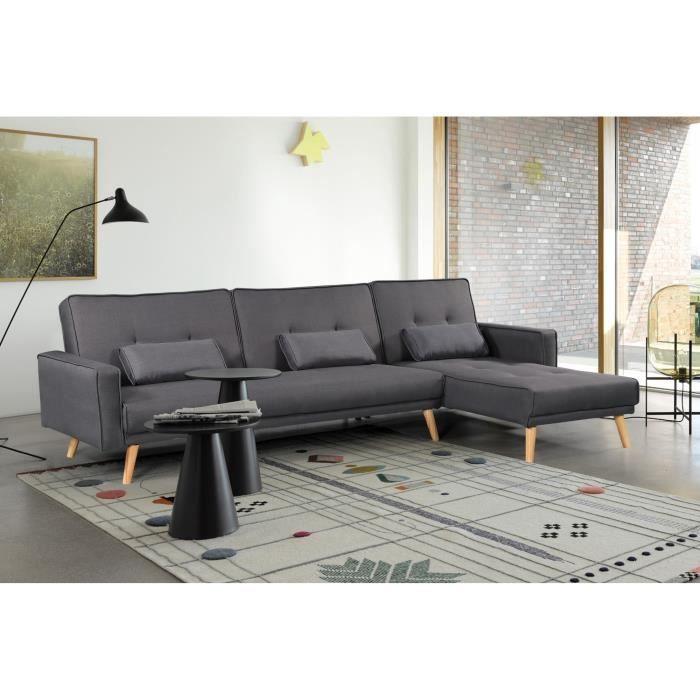 Canapé d'angle convertible scandinave tissu gris