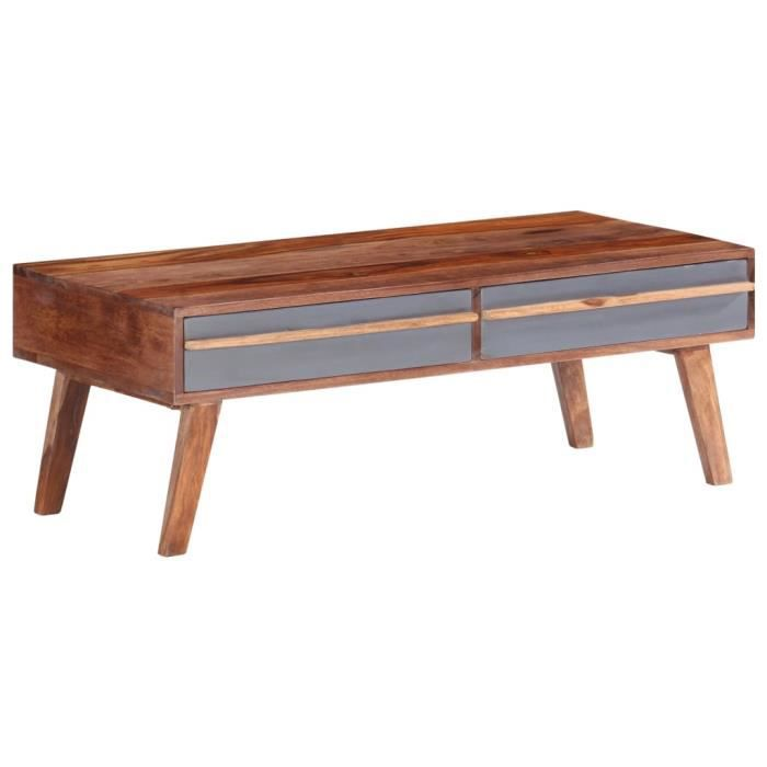 COCO Table basse Gris 110x50x40 cm Bois massif