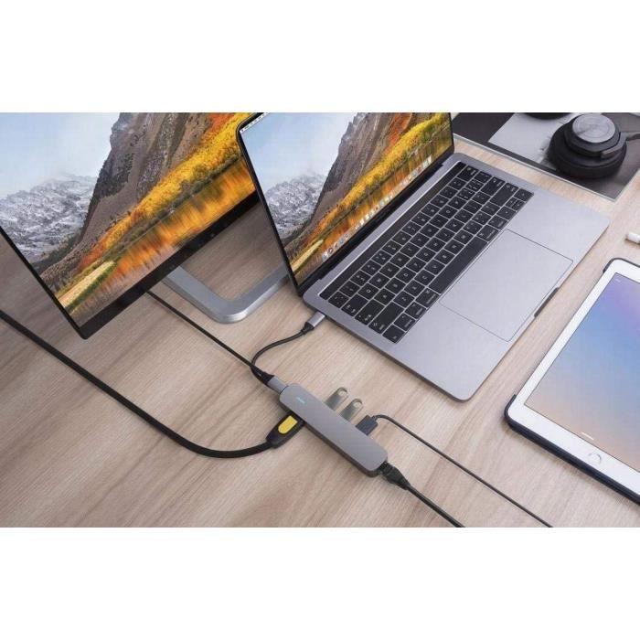 Hubs USB Hyper Hub 6 en 1 ports USB-C USB 3.1 HDMI 4K Ethernet Gigabit – argenté 18512