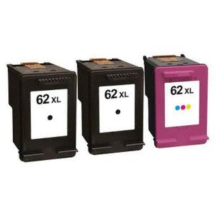 Packs 3 cartouches pour HP 62XL 2 x Noire et 1 x Couleur Compatible Envy 5540