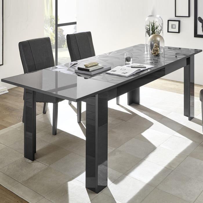 Table extensible 180 gris laqué design NINO 2 L 228 x P 90 x H 79 cm Gris