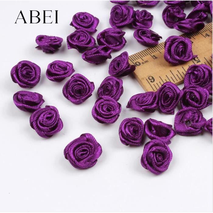 Mini fleurs roses mélangées 15mm 300 pièces, Ruban en satin fait à la main, tête de rose, accessoires décoratifs - Dark Purple