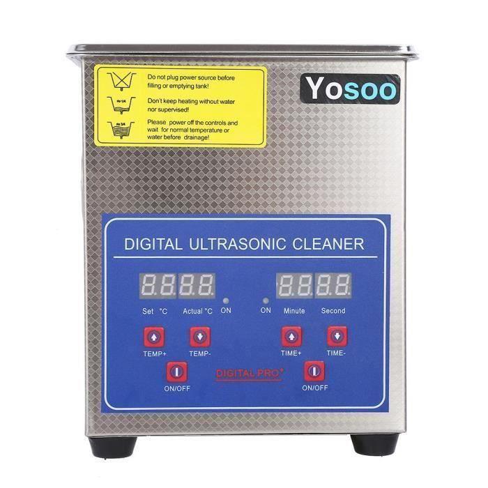 Nettoyeur à ultrasons numérique 2L et chauffe-eau à ultrasons numérique en acier inoxydable-CHE