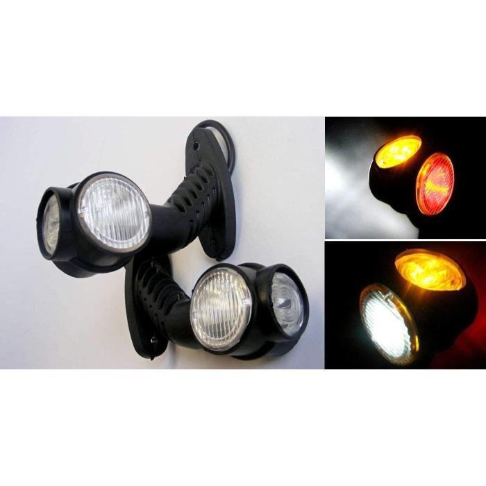 2x LED Contour Feux de Position Récupération Lampes 12/24V E-Mark Camion Remorque Châssis