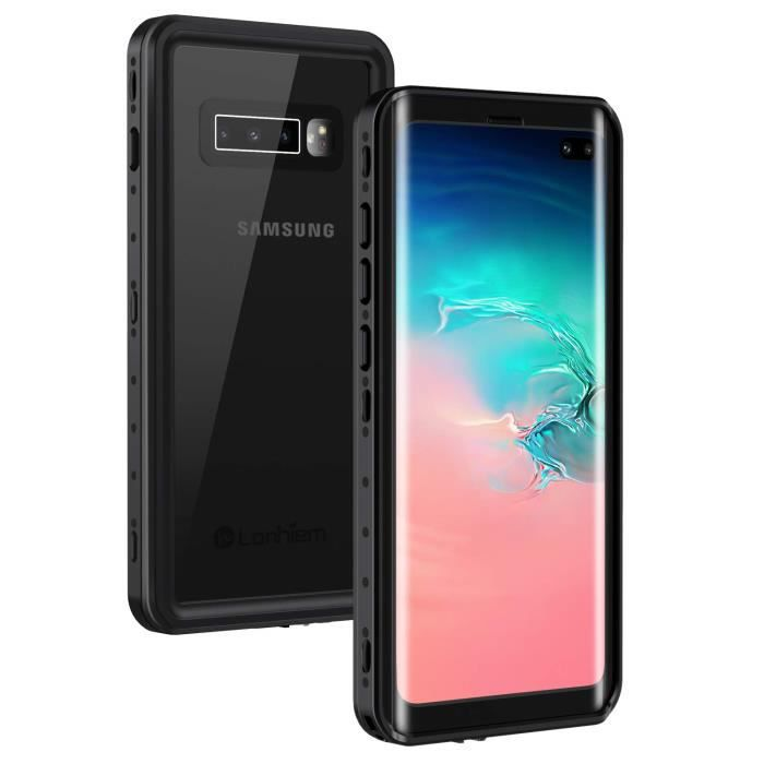 Coque Samsung S10+ Étanche, [IP68 Imperméable]avec Protection écran intégré, [Capteur d'empreintes Digitales de Soutien], Noir