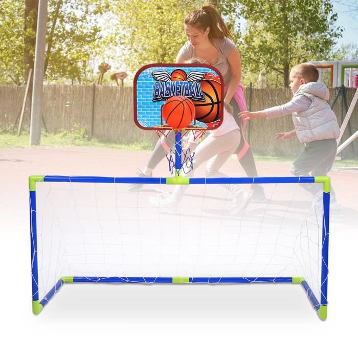 Mini Football Basket Set 2 en 1 Cage But de Football Filet Panier Panneau Ballons Pompe Gonfleur Kit Jouet de Balles Jeux de Jardin