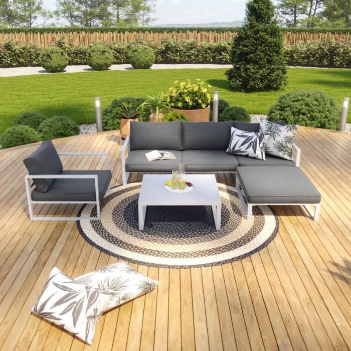 Salon de jardin angle aluminium 5 Places couleur blanc gris - VALENCE
