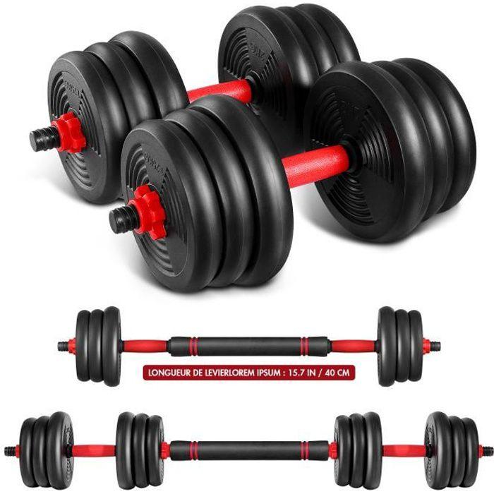 haltère reglable 20 kg musculation Sport haltère avec barres, 2.5 à 20kg