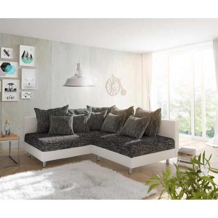 Canapé-angle Clovis blanc noir ottoman gauche canapé d'angle modulaire