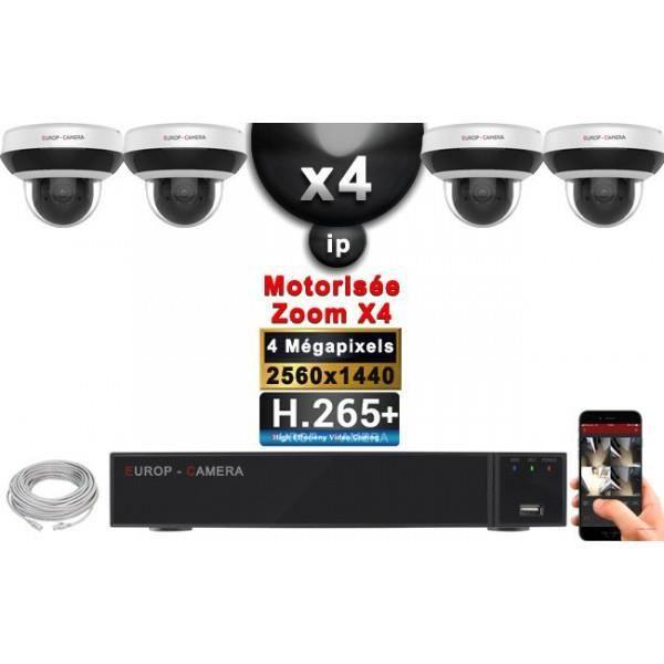 Kit Vidéo Surveillance PRO IP : 4x Caméras POE Dômes PTZ motorisée IR 20M 4 MegaPixels + Enregistreur NVR 9 canaux H265+ 2000 Go