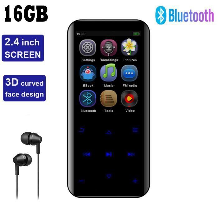 16Go Lecteur MP3 Bluetooth 4.2 Écran 3D Lecteur MP3 Enfant Radio FM Podomètre Haut-parleur Vidéo Musique Hi-Fi Son Super Enregistreu