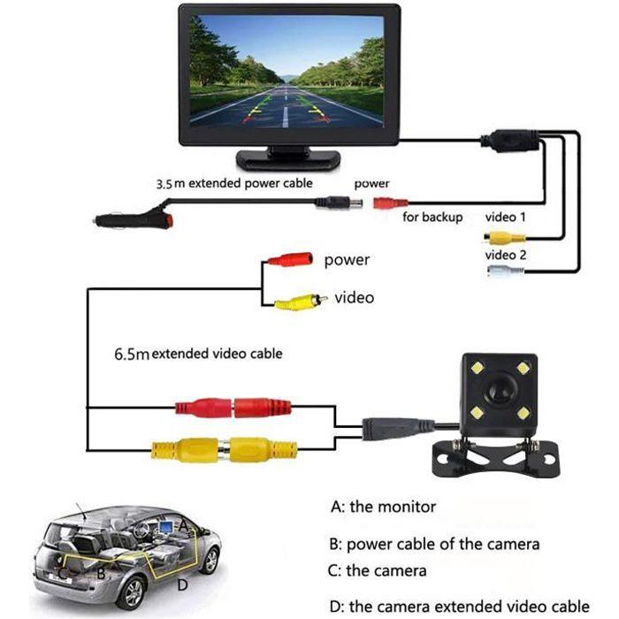 4,3- LCD Moniteur + Caméra de Recu, Moniteur LCD Kit de vue arrière de voiture câblée + Caméra de recul HD avec vision nocturne IR