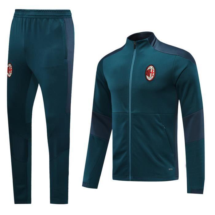 Nouveau Veste à Manches Longues AC Milan Survêtement 2020-2021 Survet Pas Cher Survêtement Training pour Homme