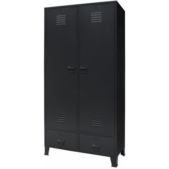 Garde-robe Armoire de chambre Armoire penderie Métal de style industriel 90 x 40 x 180 cm Noir