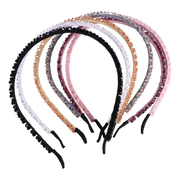 6pcs cerceau de imitation cristal de perles à tricoter à la main bandeau pour BANDEAU - SERRE-TETE - HEADBAND - HAIRBAND