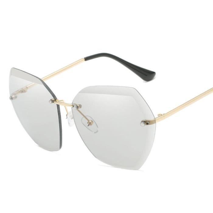Lunettes de soleil sans monture pour femme polygone lunettes en métal UV400