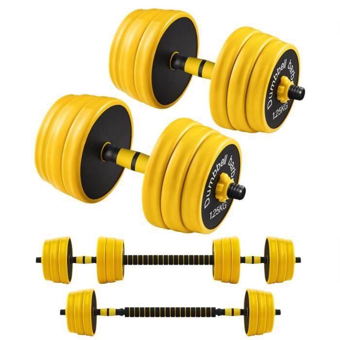 SONGMICS Haltères 2 x 10 kg, Kit de Musculation, Set de Poids Entraînement Fitness, Avec Barre d'Extension, Sport à la Maison, Jaune